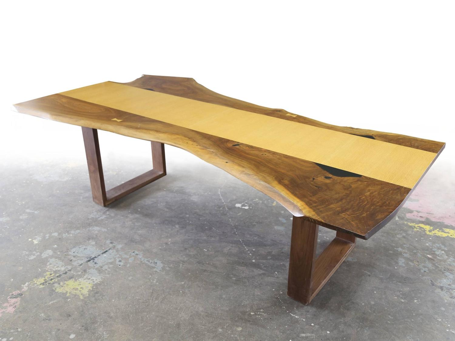 Sentient live edge black walnut slab dining table with red oak veneer for sale at 1stdibs - Oak veneer dining table ...