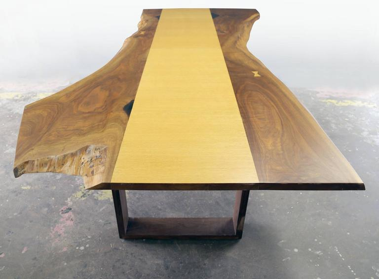 Sentient live edge black walnut slab dining table with red oak veneer for sale at 1stdibs for Live edge slab dining room table