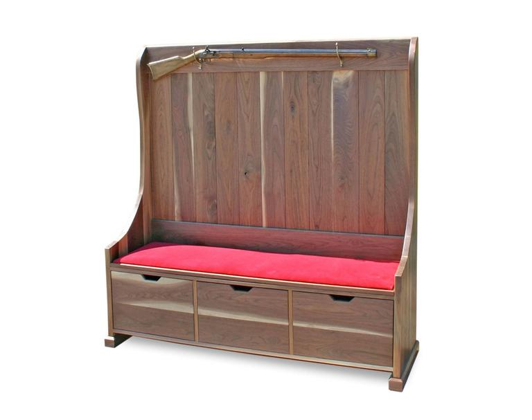 American Craftsman Shimna Walnut Deacons Bench with Red Velvet Upholstery u0026 Three Storage Drawers For Sale  sc 1 st  1stDibs & Shimna Walnut Deacons Bench with Red Velvet Upholstery and Three ...