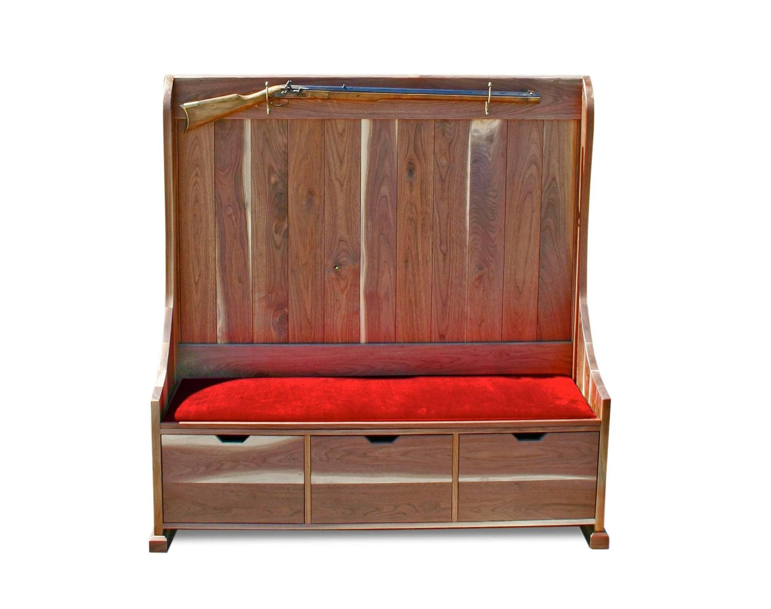 Shimna Walnut Deacons Bench with Red Velvet Upholstery and ...