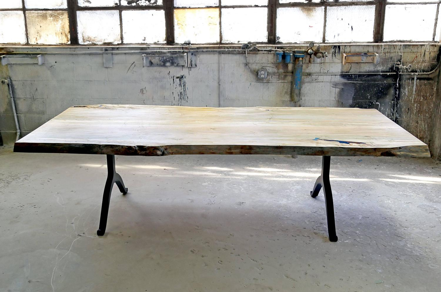 Sentient signature ambrosia maple live edge slab table for Live edge wood slabs new york