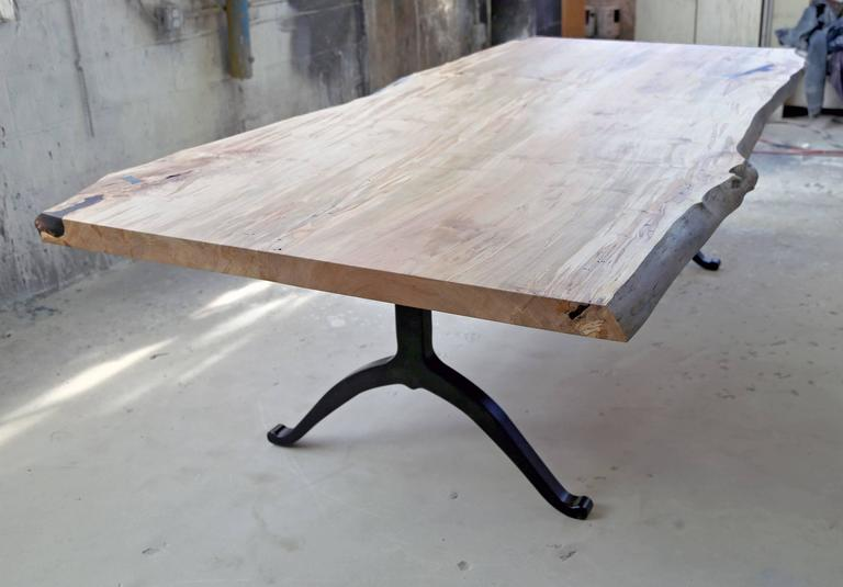 Organic Modern Sentient Signature Ambrosia Maple Live Edge Slab Table Steel  Wishbone Legs For Sale