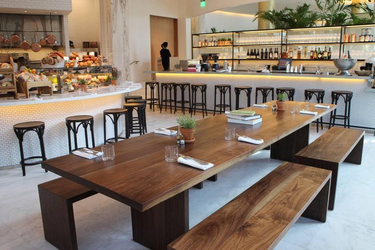 Shimna hardwood black walnut communal farmhouse table for sale at 1stdibs - Restaurant communal tables ...