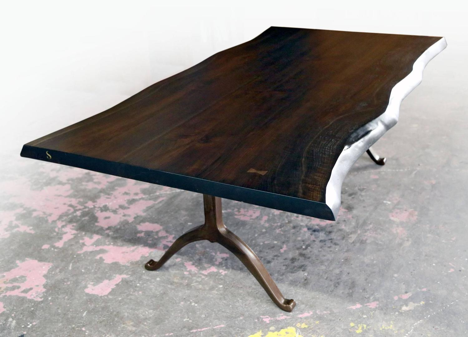 Sentient Signature Live Edge Black Walnut Slab Table Bronzed Steel Wishbone Legs For Sale At 1stdibs