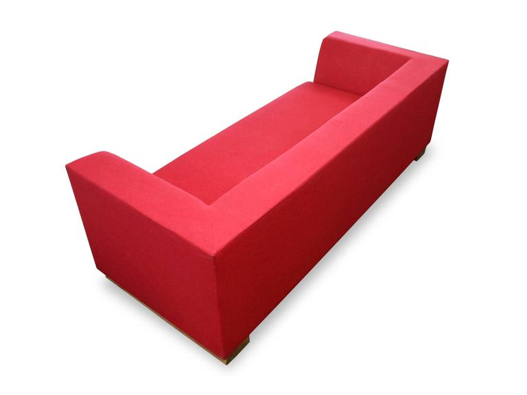 American SHIMNA Delaware Sofa in Red Maharam Wool Upholstery For Sale