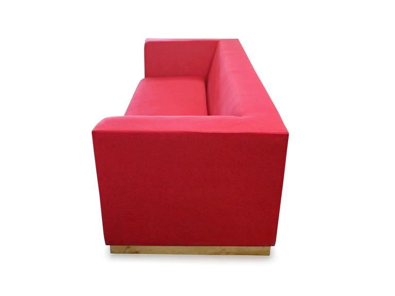 American Modern SHIMNA Delaware Sofa in Red Maharam Wool Upholstery For Sale