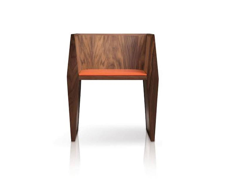 Organic Modern Sapience Chair in Walnut with Upholstered Seat For Sale