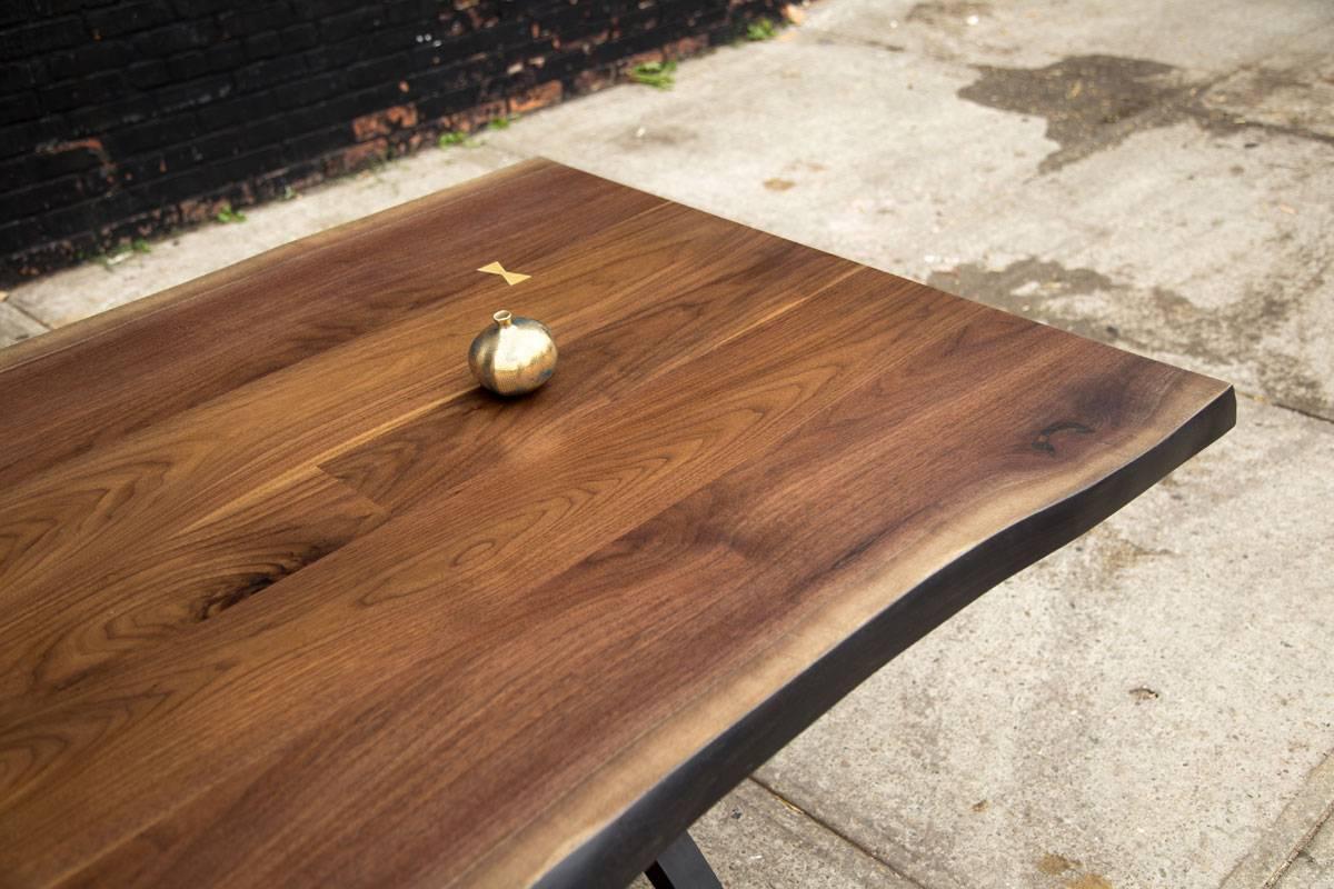 Signature live edge black walnut slab table blackened for Live edge wood slabs new york