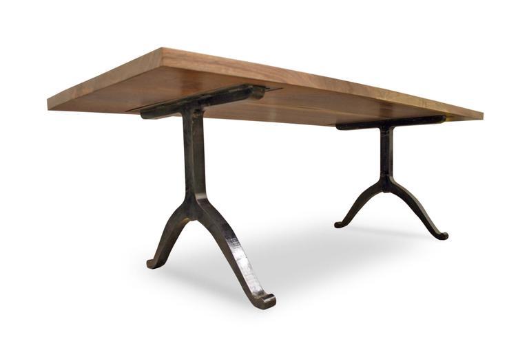 American Black Walnut Farmhouse Table With Blackened Steel Wishbone Legs 2