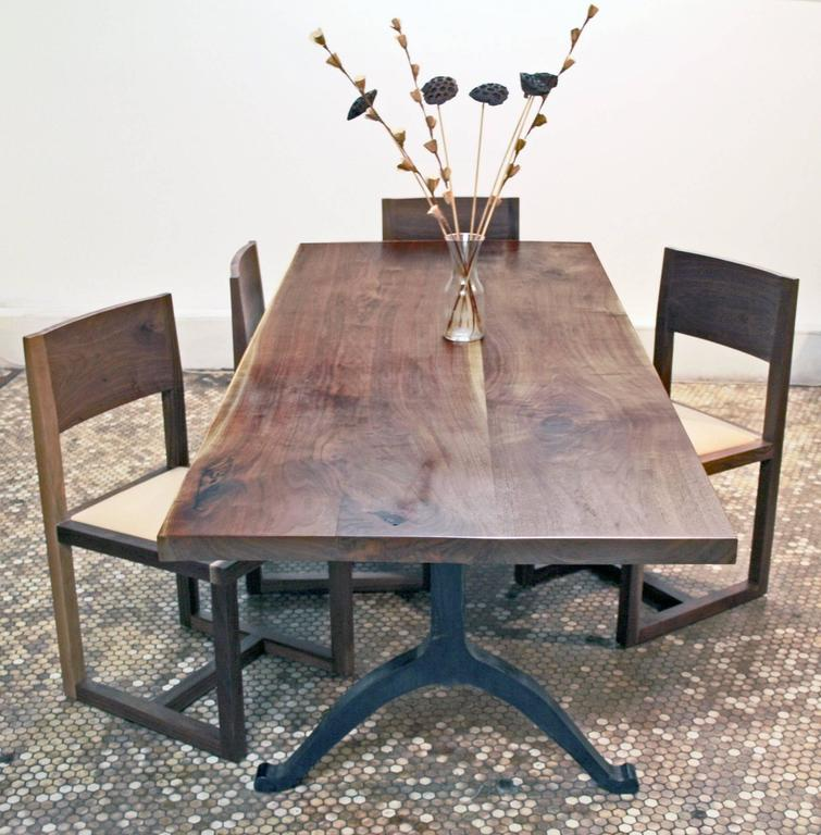 Merveilleux American Black Walnut Farmhouse Table With Blackened Steel Wishbone Legs