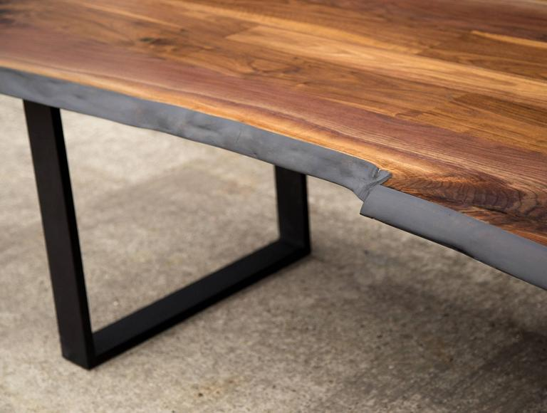 Blackened Sentient Signature Live Edge American Black Walnut Slab Table  Steel Frame Legs For Sale