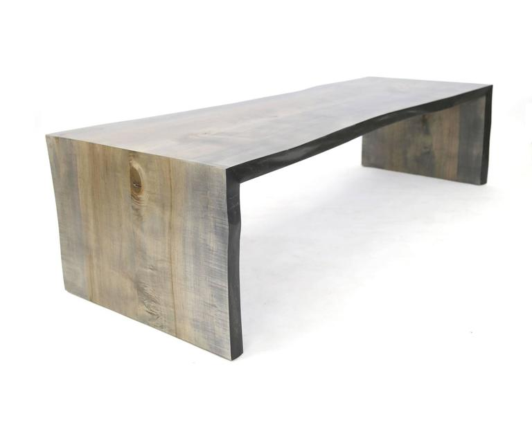 Sentient Folded Maple Slab Live Edge Coffee Table with Driftwood Finish In New Condition For Sale In Brooklyn, NY