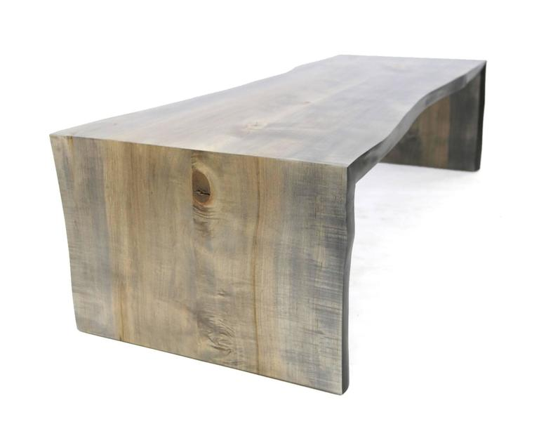 Wood Sentient Folded Maple Slab Live Edge Coffee Table with Driftwood Finish For Sale