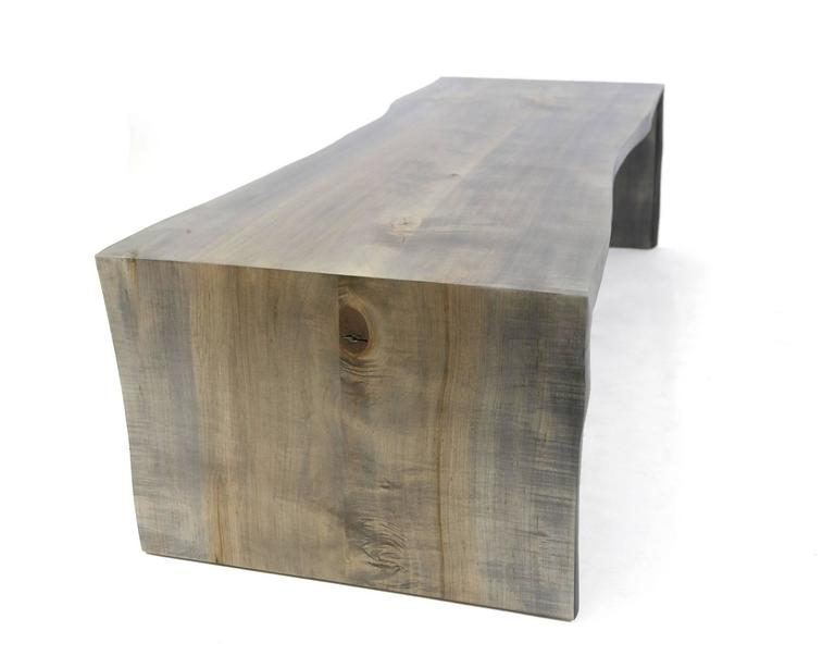 Sentient Folded Maple Slab Live Edge Coffee Table with Driftwood Finish For Sale 2