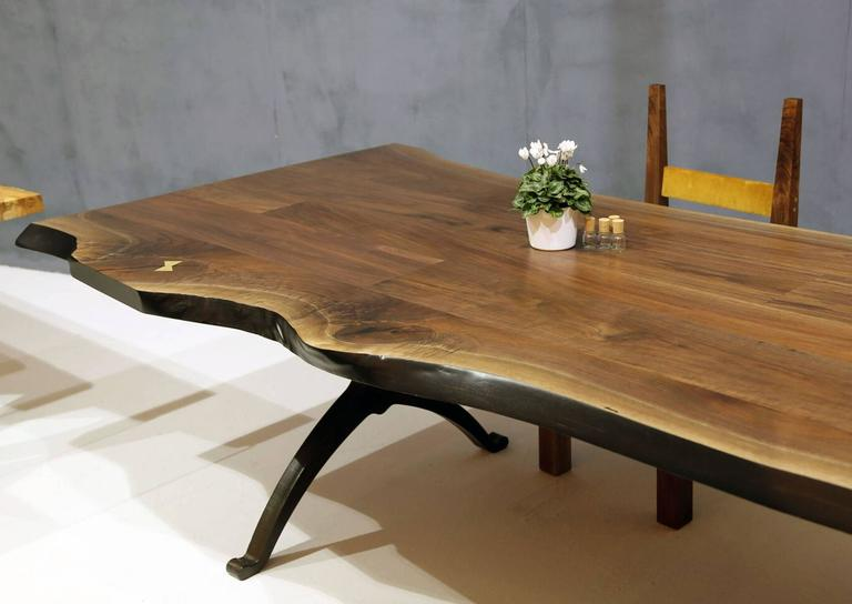 Blackened Sentient Signature Live Edge American Black Walnut Slab Table  Wishbone Legs For Sale