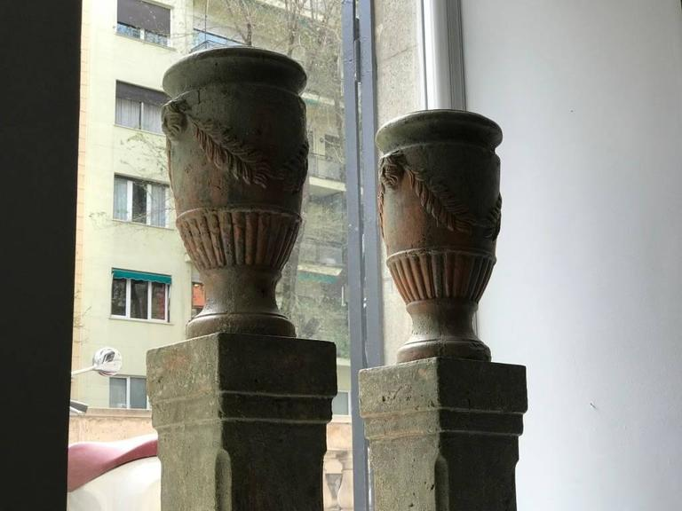 French Pair of Terracotta Urns on Plinths, 19th Century 2