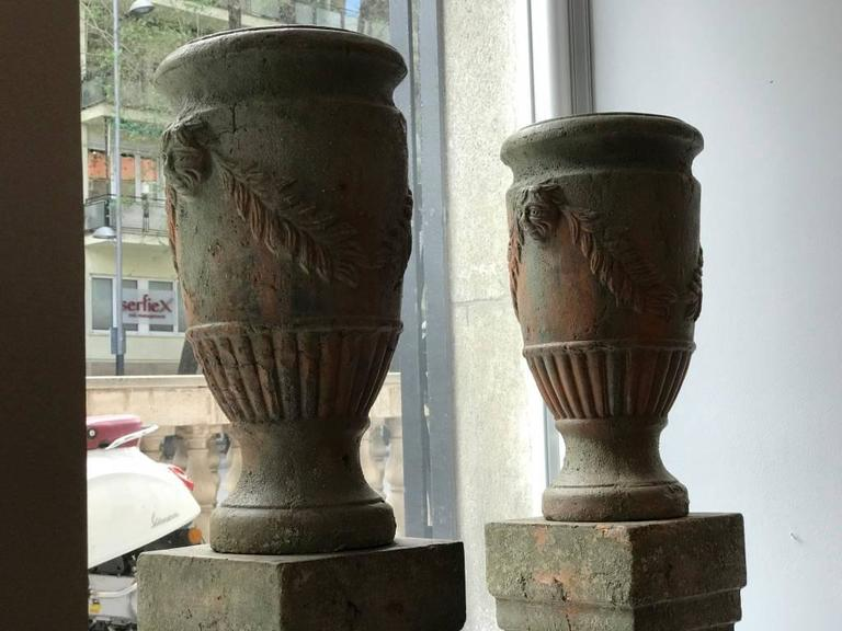 French Pair of Terracotta Urns on Plinths, 19th Century 3