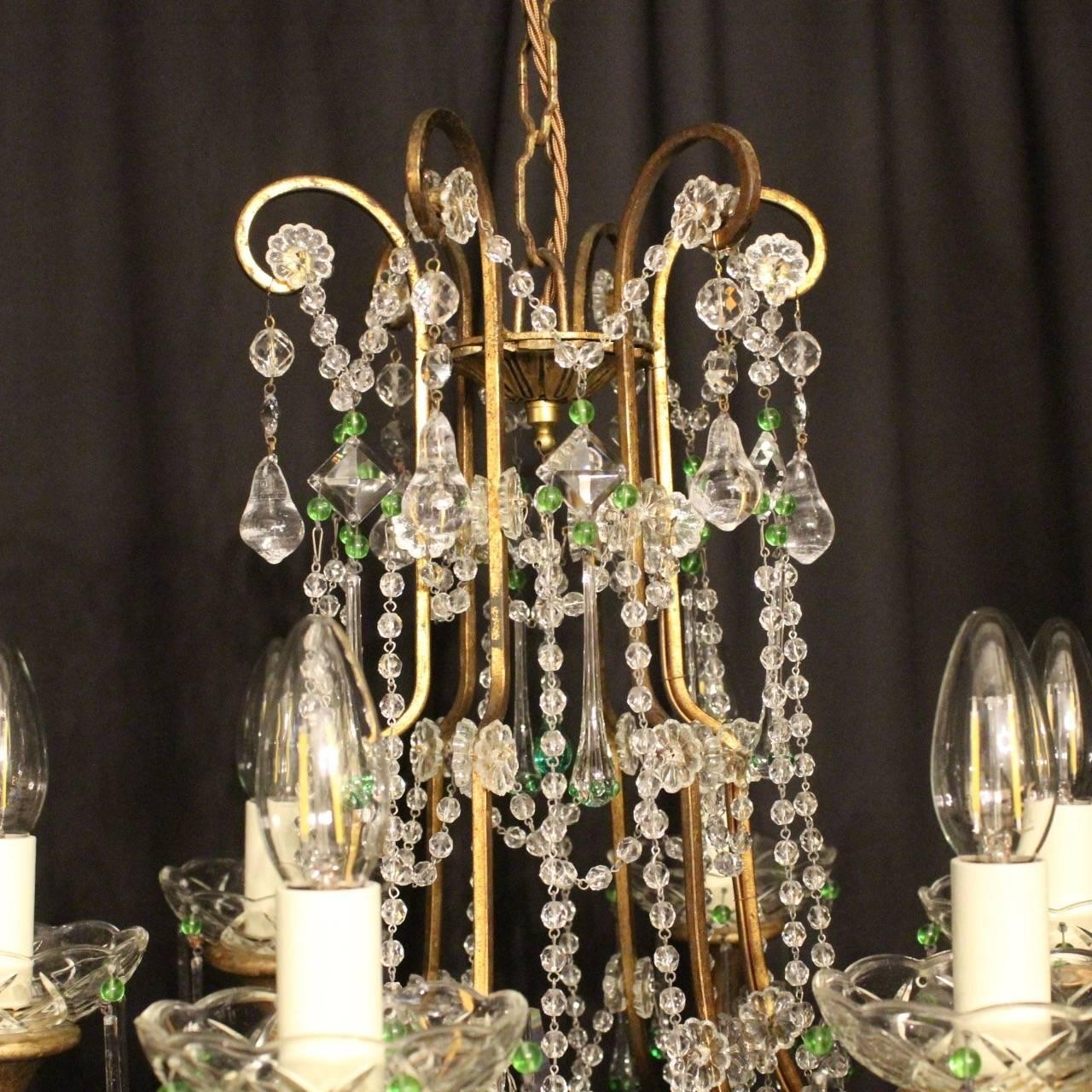 Italian florentine six light cage chandelier for sale at 1stdibs arubaitofo Image collections