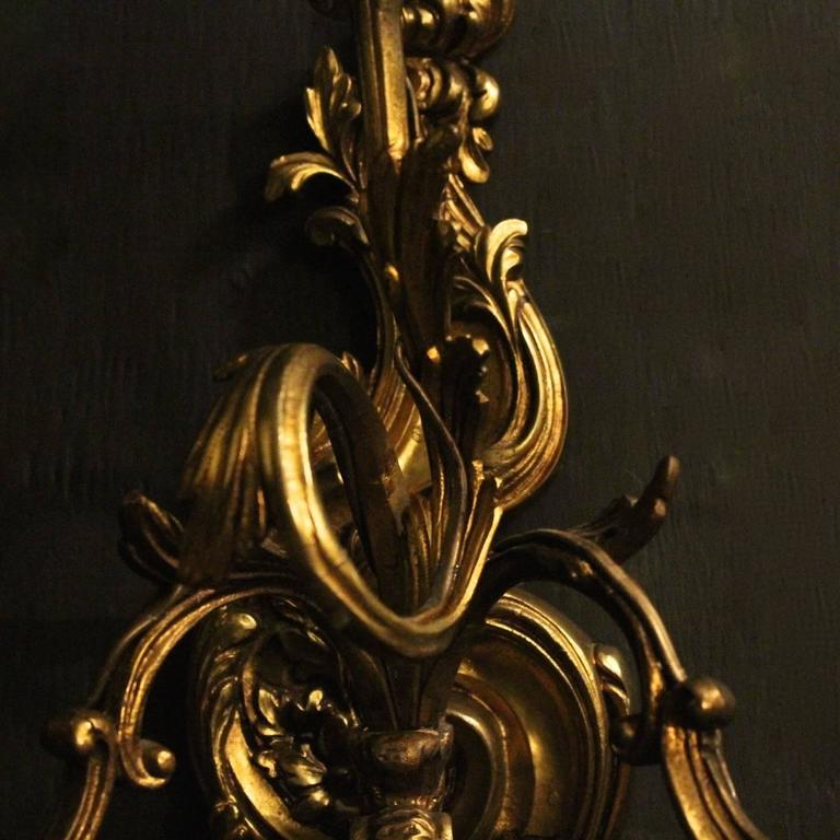 Italian Gilded Triple-Arm Antique Wall Lights at 1stdibs
