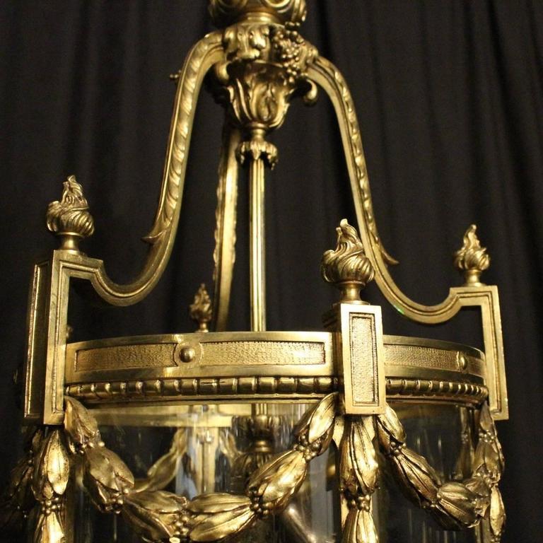 Gilt French Bronze Triple-Light Antique Lantern For Sale