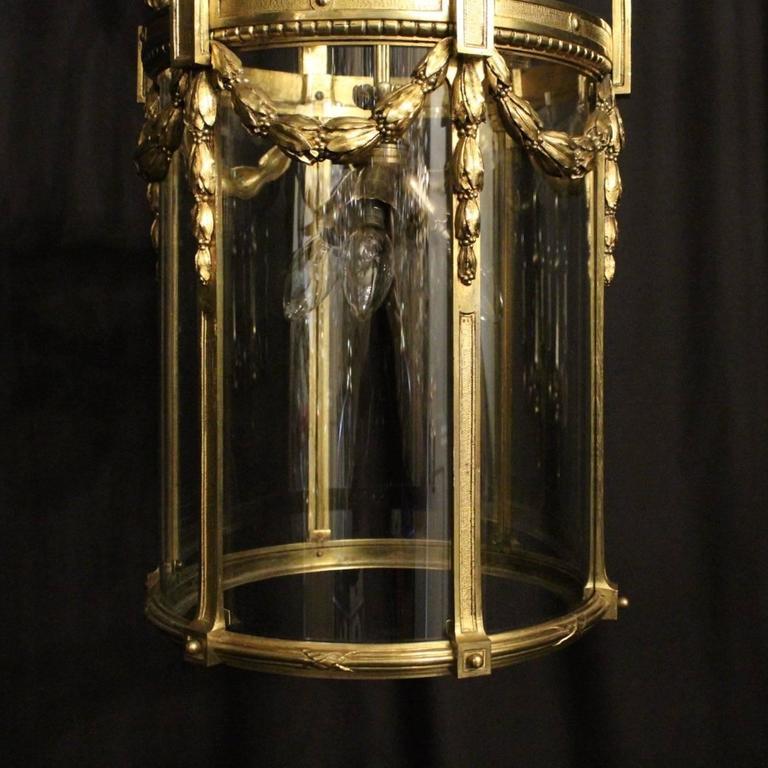 19th Century French Bronze Triple-Light Antique Lantern For Sale