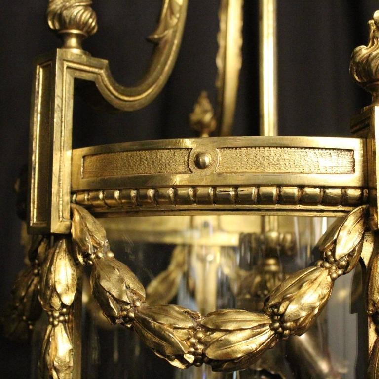 French Bronze Triple-Light Antique Lantern For Sale 3