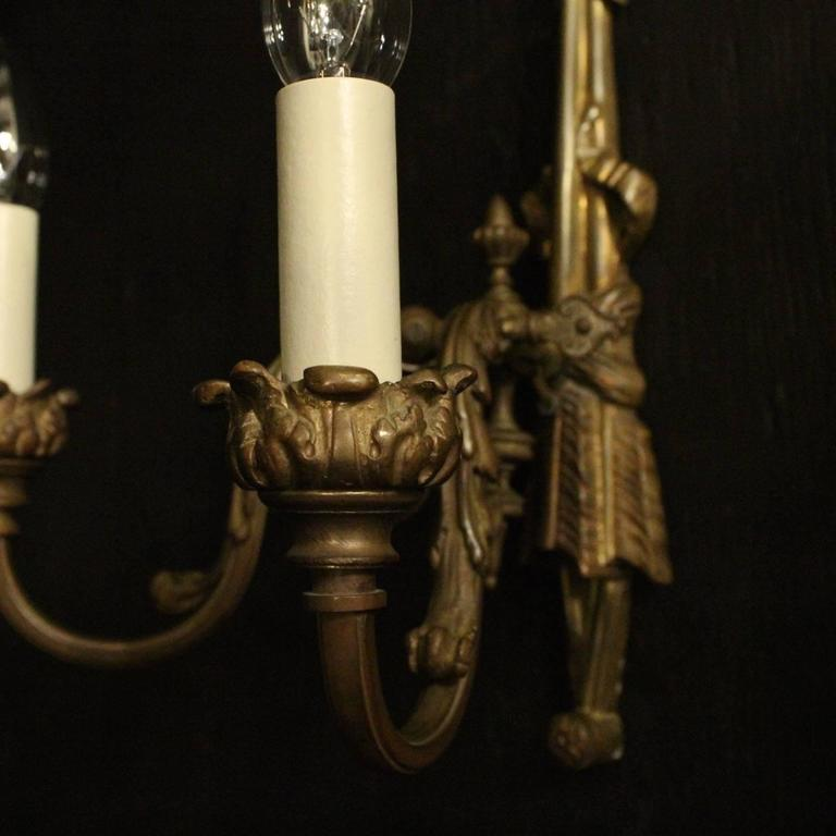 French Pair of Bronze Gasolier Antique Wall Lights For Sale at 1stdibs