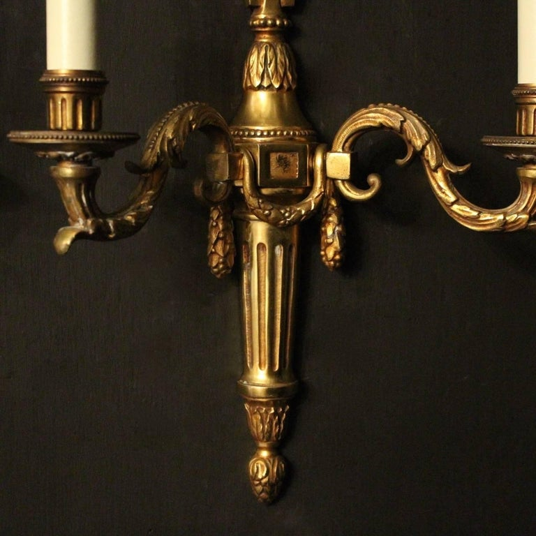 French Pair of Bronze Antique Wall Lights For Sale at 1stdibs