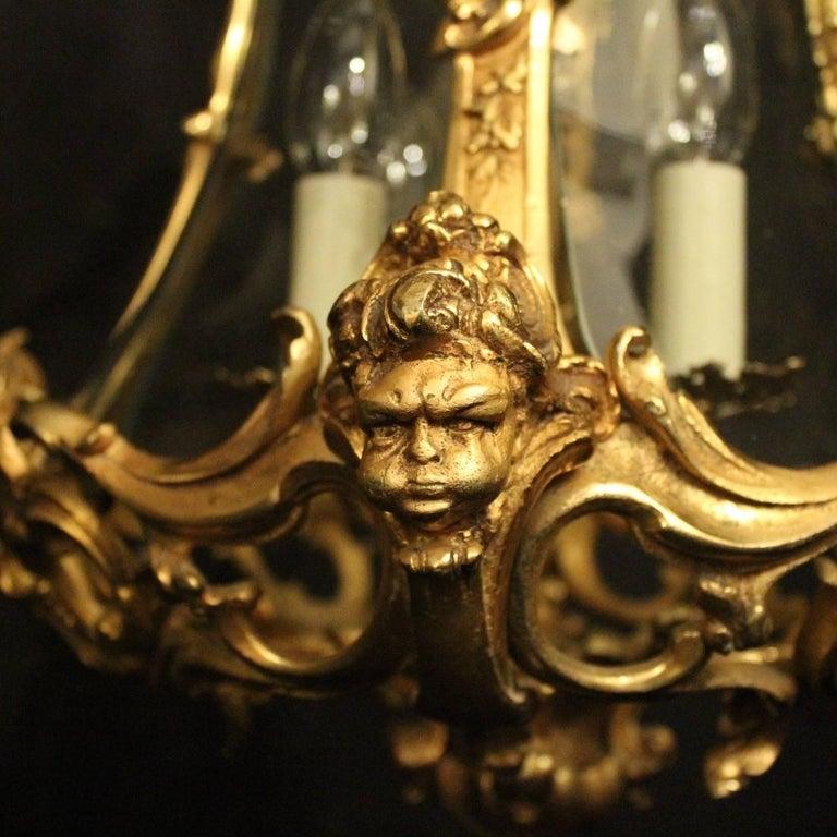 Baroque Revival Italian Pair of Four-Light Gilded Bronze Cherub Lanterns For Sale