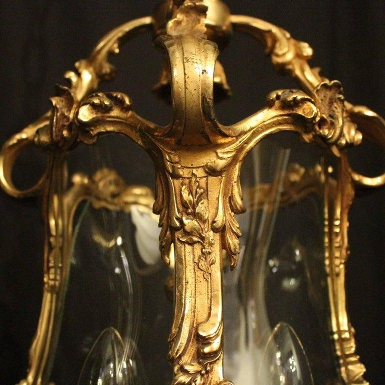 Italian Pair of Four-Light Gilded Bronze Cherub Lanterns For Sale 2