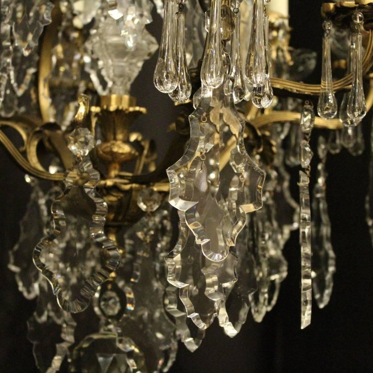 20th Century French Pair of Gilded Bronze and Crystal Antique Chandeliers For Sale