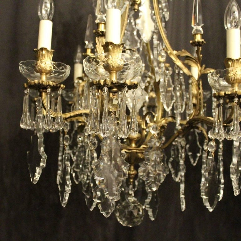 Gilt French Pair of Gilded Bronze and Crystal Antique Chandeliers For Sale