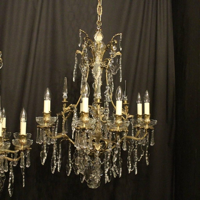 French pair of gilded bronze and crystal antique chandeliers at 1stdibs french pair of gilded bronze and crystal antique chandeliers for sale 4 aloadofball Images