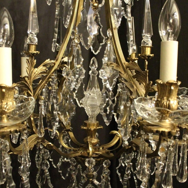 Baroque Revival French Pair of Gilded Bronze and Crystal Antique Chandeliers For Sale