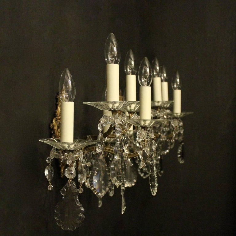 French Pair of Gilded Bronze and Crystal Five-Arm Antique Wall Lights For Sale 6