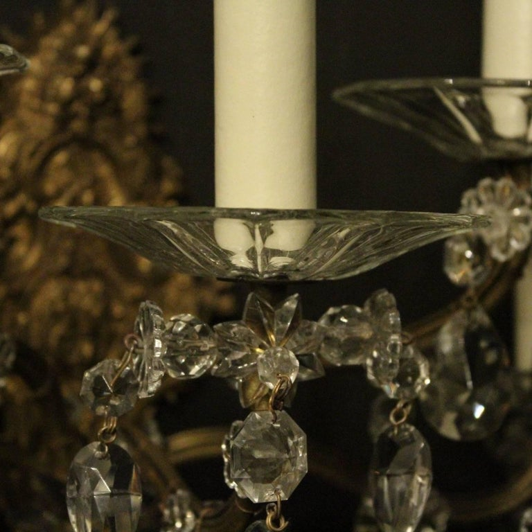 French Pair of Gilded Bronze and Crystal Five-Arm Antique Wall Lights For Sale 2