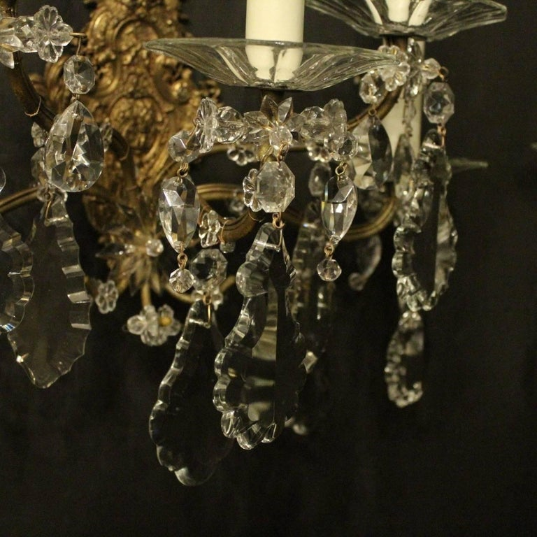19th Century French Pair of Gilded Bronze and Crystal Five-Arm Antique Wall Lights For Sale