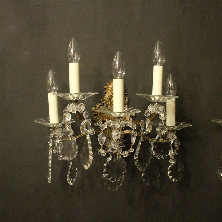 French Pair of Gilded Bronze and Crystal Five-Arm Antique Wall Lights For Sale 5