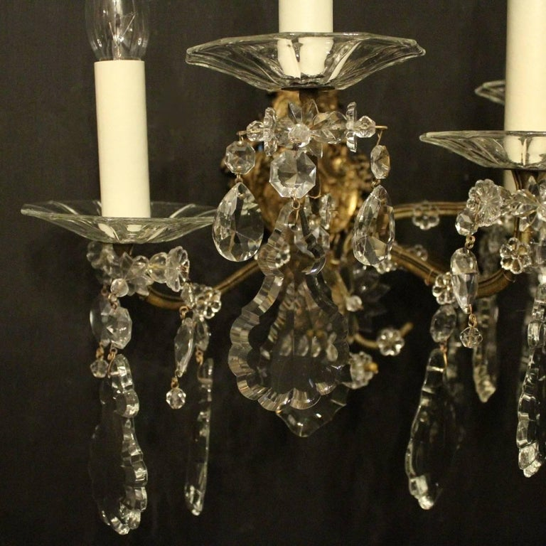 French Pair of Gilded Bronze and Crystal Five-Arm Antique Wall Lights For Sale 3