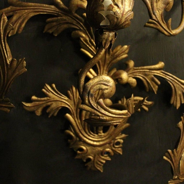 Gilt Florentine Large Pair of Gilded Six-Arm Leaf Wall Lights For Sale