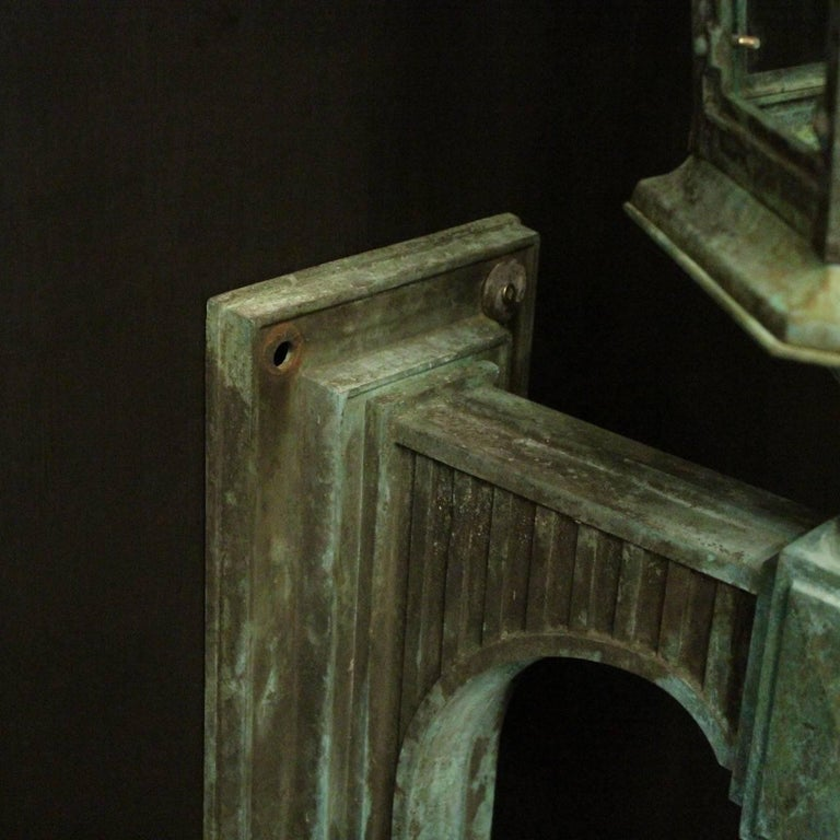 English 19th Century Pair of Large Bronze External Antique Wall Lanterns For Sale 3