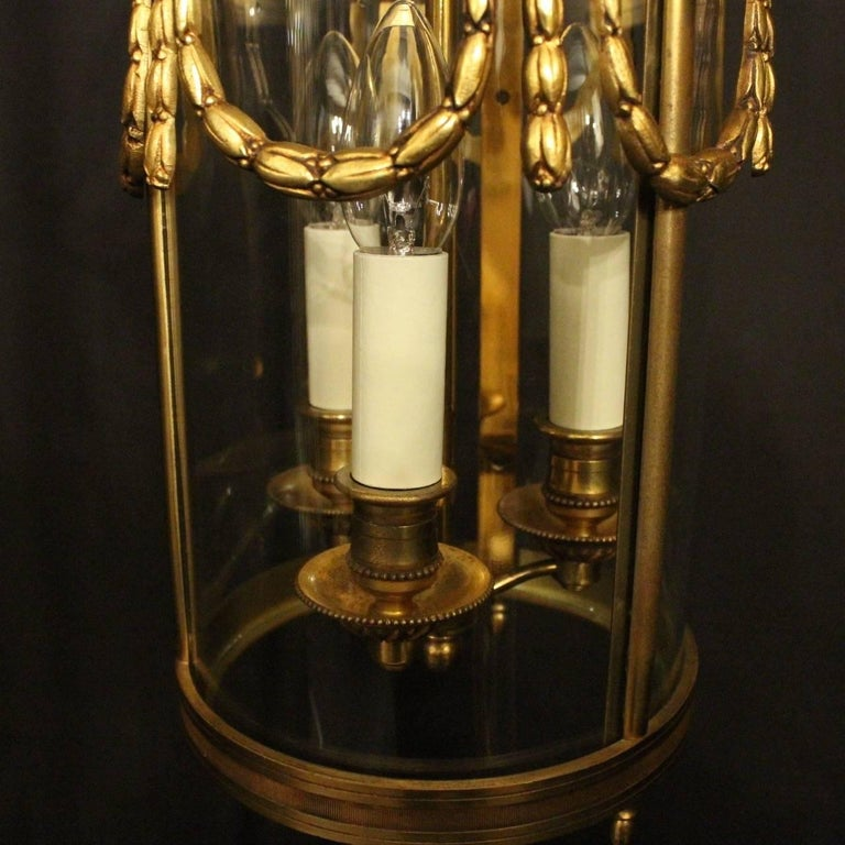 French 19th Century Gilded Bronze Antique Hall Lantern In Good Condition For Sale In Chester, GB