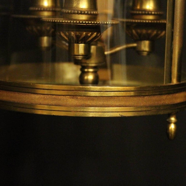 French 19th Century Gilded Bronze Antique Hall Lantern For Sale 3