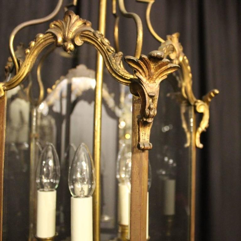 French Gilded Bronze Five-Light Antique Lantern In Excellent Condition For Sale In Chester, GB