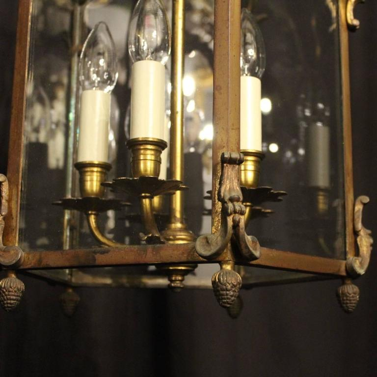 French Gilded Bronze Five-Light Antique Lantern For Sale 1