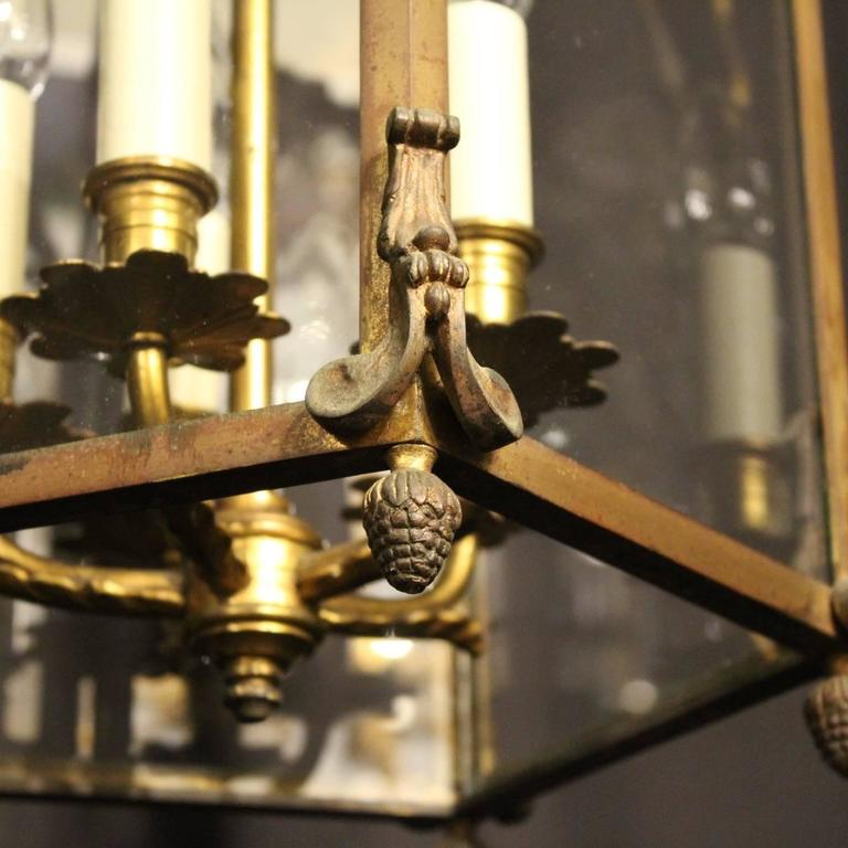 French Gilded Bronze Five-Light Antique Lantern For Sale 3