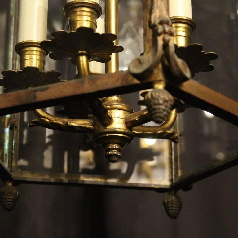 French Gilded Bronze Five-Light Antique Lantern For Sale 5