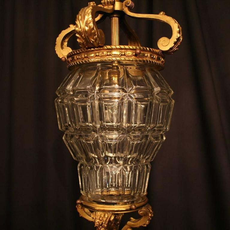 Gilt French Gilded Single Light Antique Hall Lantern For Sale