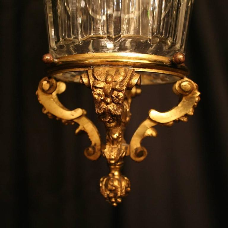 French Gilded Single Light Antique Hall Lantern In Excellent Condition For Sale In Chester, GB