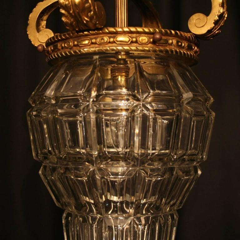 19th Century French Gilded Single Light Antique Hall Lantern For Sale